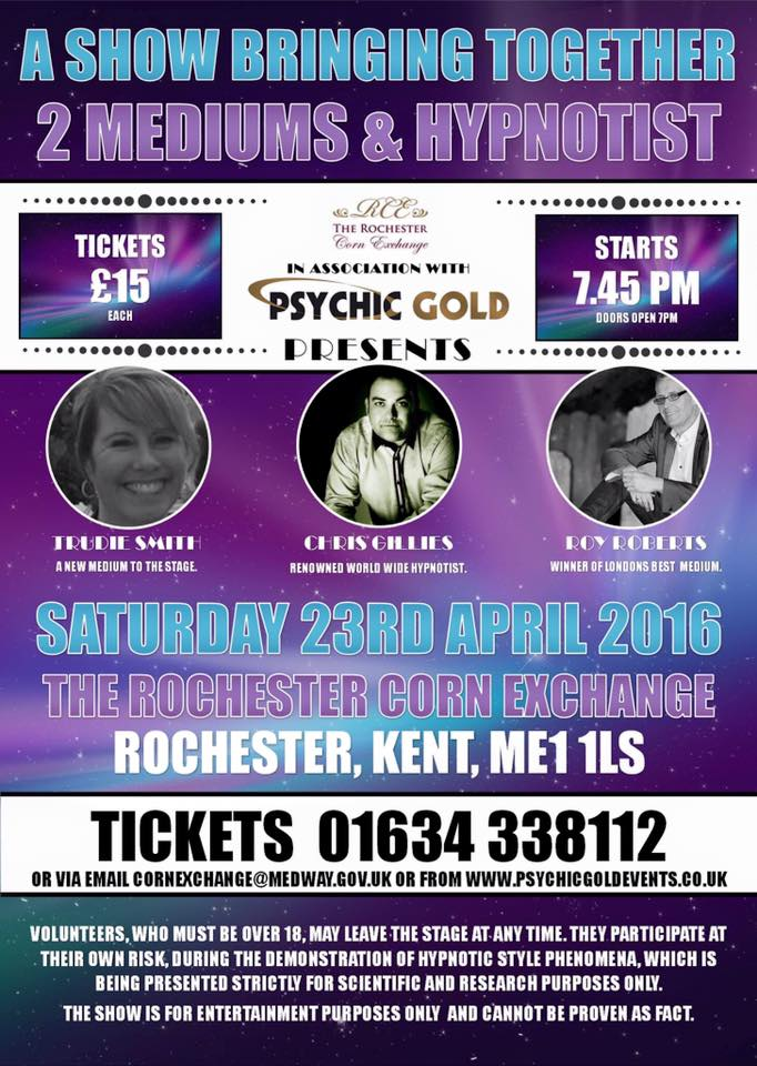 2 Mediums and Hypnotist 23rd April 2016 7.45pm