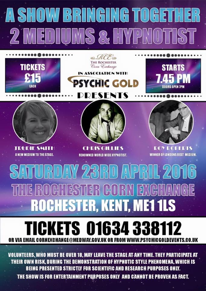 2 Mediums and Hypnotist 23rd April 2016 7.45pm